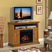 classicflame cannes 47 inch electric fireplace media console with traditional log set antique oak