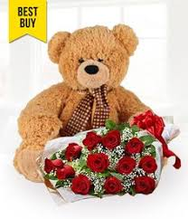 30 inch brown teddy bear and 1 dozen red roses to surprise her this valentine s day philippine flowers and gifts