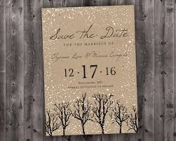 Winter Wedding Save The Date Printed Snow Woodsy Rustic Etsy