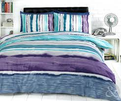 blue green duvet cover dye printed bedding contemporary striped cotton rich bed set purple navy and
