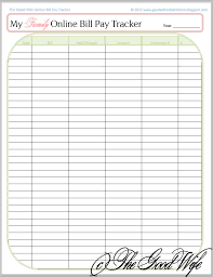 The Good Wife New Budget Worksheet Online Bill Pay Checklist