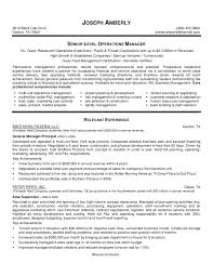 Resume Examples Printable Operations Manager Resume Template Free
