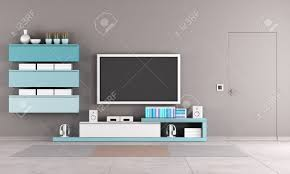 Living Room Tv Stand Colorful Living Room With Tv Standcabinet And Close Door Stock