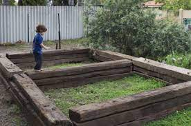 railway sleepers raised garden beds