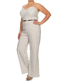white jumpsuit plus size plus size sexy striped wide leg belted white jumpsuit slayboo