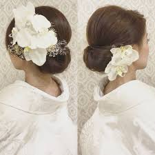 結婚式の前撮り 和装ロケーション撮影のお客様 白無垢洋髪 面を出した