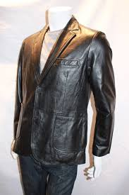 men s leather blazer with patch pockets