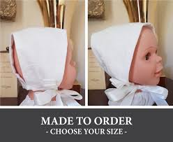 Winter White Baby Bonnet With Feather Overlay Any Size 3 To 18 Months Made To Order Vintage Iris Style Custom Baby Hat With Ties