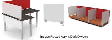 enclave frosted acrylic desk dividers and privacy screens