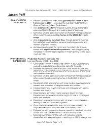 Resumes Real Estate Agent Resume Qualification Highlights And