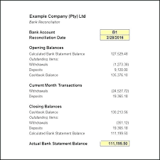 Checking Account Reconciliation Form Template Bank Reconciliation
