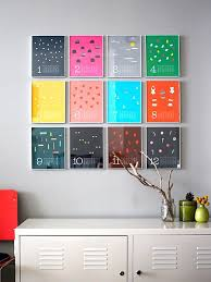 colorful wall calendar as diy wall art ideas