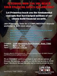 Primerica Financial Veterans Financial Workshop Hosted By Primerica Lone Star