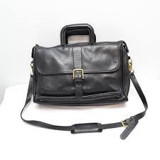 coach harrison mens black leather briefcase