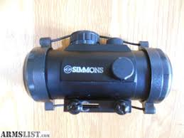 simmons red dot scope. simmons red dot scope, model 800516, 42 mm, with protective caps. recently bought used and not what i wanted. was told the battery replaced. scope d