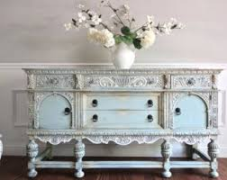 vintage hand painted french country cottage chic shabby distressed weathered turquoise teal blue dresser console cabinet chic shabby french style distressed