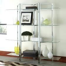 glass shelf bookcase divider shaped chrome bookcase w glass shelves ikea billy bookcase glass shelf