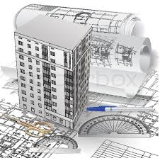 architectural buildings drawings. Contemporary Buildings Architectural Background With A 3D Building Model And Rolls Of Technical  Drawings Part Architectural Project Vector Clipart  Stock Colourbox For Buildings Drawings N