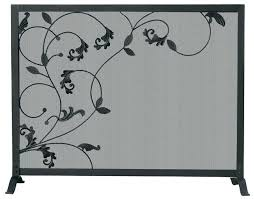 wrought iron fireplace screens iron fireplace screen single panel black wrought iron fireplace screen with flowing