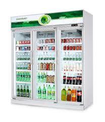 Glass Refrigerator 3 Glass Doors Commercial Displayed Refrigerator Freezer For
