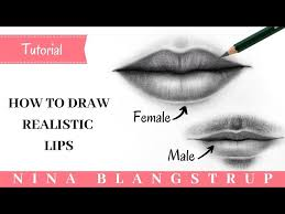 how to draw realistic lips male and