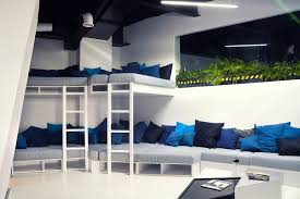 blue white office space. rest space in the spaceship theme office with narration of blue colors white