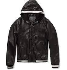 originality black dolce gabbana coats jackets leather jacket jersey trimmed mens hooded mens