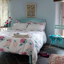 country beach style bedroom decor idea. Minimalist Country Bedroom With Blue Ocean Painted Wooden Frame Bed And  Headboard Side Table Flower Painting Wall Accessories Gray Marble Country Beach Style Bedroom Decor Idea E