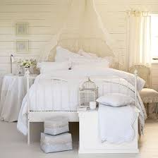 bedrooms with white furniture. Pale American-classic Bedroom With White Wood Panelled Wall, Cream Voile And Lace Bedrooms Furniture