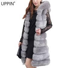 uppin winter fur coats women long hooded faux fur vests soft warm outerwear waistcoat fake fox