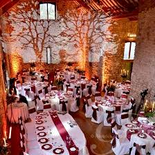 barn wedding lighting. tree projections onto the back wall of barn this is lovely for a woodland lightinglighting ideaswedding wedding lighting