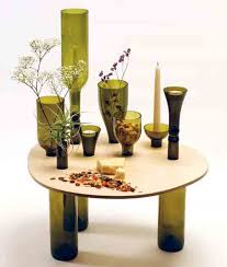 User-Designed Table Using Recycled Wine Bottles