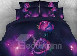 64 onlwe 3d purple rose printed 4 piece bedding sets duvet covers