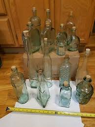details about vintage 16 piece glass wine assorted bottle set w corks tall small up to 18