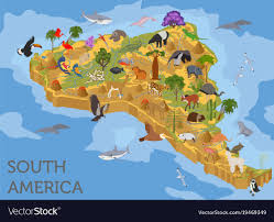 Isometric 3d South America Flora And Fauna Map