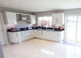 acrylic white high gloss slab door kitchen