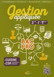 Gestion Appliquée 2de 1re Tle Bac Pro Cuisine Laurent Ilès