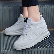Hide Heel <b>Women</b> Fashion Sneakers <b>Flying Knitting</b> Wedge Casual ...