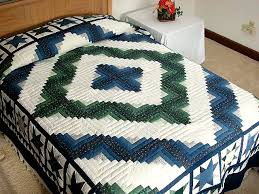 Log Cabin Granny Star Quilt -- wonderful carefully made Amish ... & Blue and Green Log Cabin Granny Star Quilt Photo 1 ... Adamdwight.com