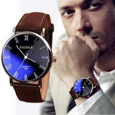 brand new brown luxury men watch fashion faux leather mens r see larger image