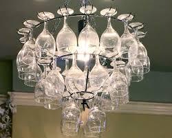 fascinating wine glass chandelier diy with cream wall color decor idea