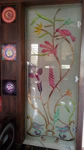 Flower Design Glass Door Glass Design Full Glass Crystal In 2019 Sliding Door
