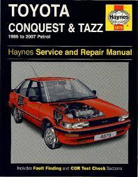workshop manuals haynes toyota conquest tazz to  toyota conquest and tazz repair manual