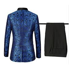Patterned Tuxedo Classy Classic Blue Flower Patterned Tuxedo Suit With Black Trouser Www