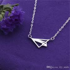 whole hot paper airplane necklace jewelry hollow folding origami plane necklace childhood memory outdoor personality necklace gift for friend