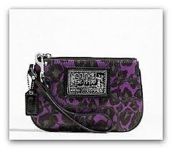 ~Rare~COACH Poppy Purple Ocelot Sateen Wristlet~ 178 MSRP~