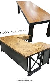 industrial style office furniture. combining carbon steel and butcher block wood to create a unique modern industrial style office furniture i