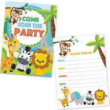 Jungle Theme Birthday Invitations Safari Jungle Zoo Animals Party Invitations For Kids Birthday Or Baby Shower 20 Count With Envelopes