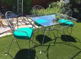 salterini wrought iron furniture. Salterini 1940\u0027s Laurel Leaf Pattern, Plain Table With 3 Chairs Wrought Iron Furniture
