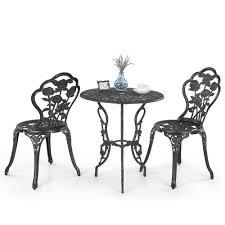 ikayaa 3pcs modern outdoor patio bistro set iron aluminum porch balcony garden table chairs set furniture rose design antique copper